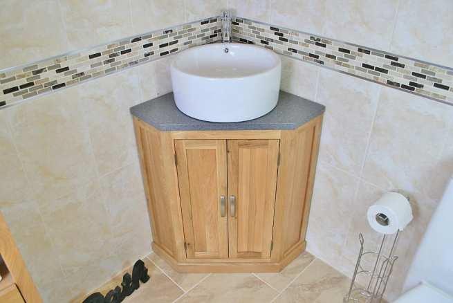 Corner Vanity Unit with Grey Quartz Top and Round Ceramic White Bathroom Basin