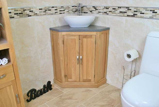 Oval White Ceramic Bathroom Basin on Grey Quartz Top Corner Vanity Unit