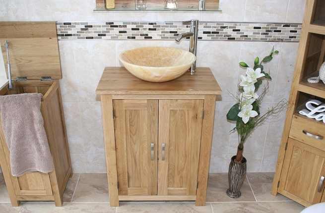 Oak Topped Vanity with Stunning Golden Onyx Bathroom Basin