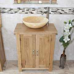 Oak Topped Vanity with Stunning Golden Onyx Bathroom Basin