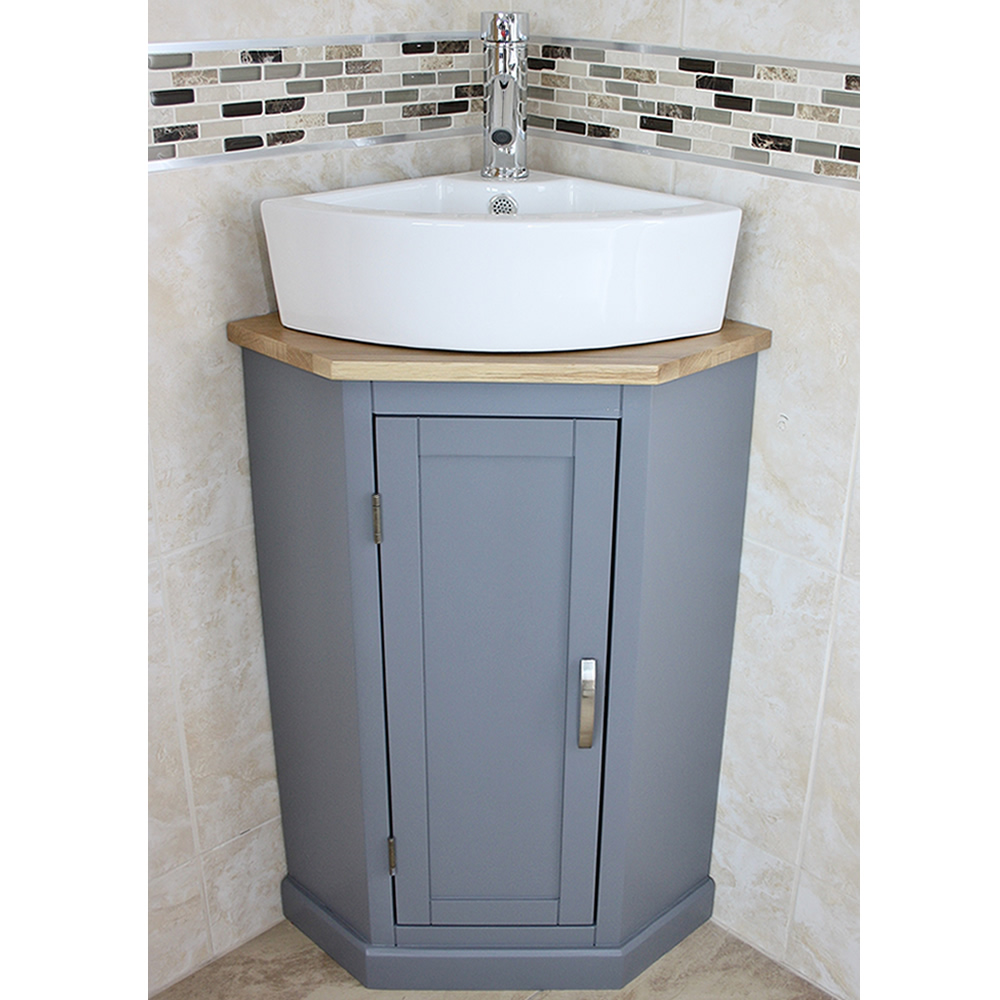 Grey Painted Corner Oak Vanity Unit With Wash Basin Ideal For Cloakroom