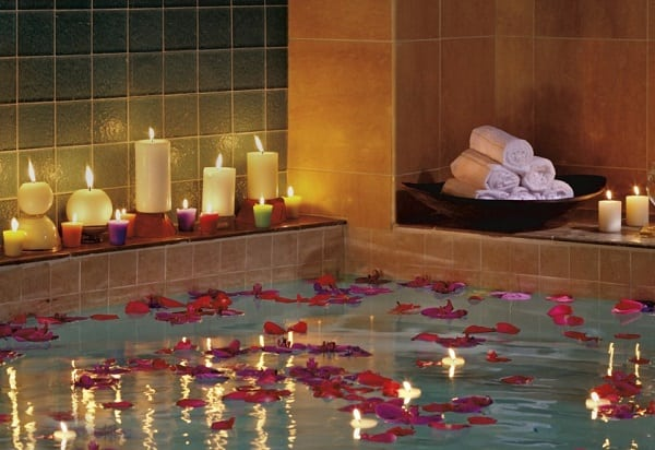 Spa Bath with Rose Petals & Candles