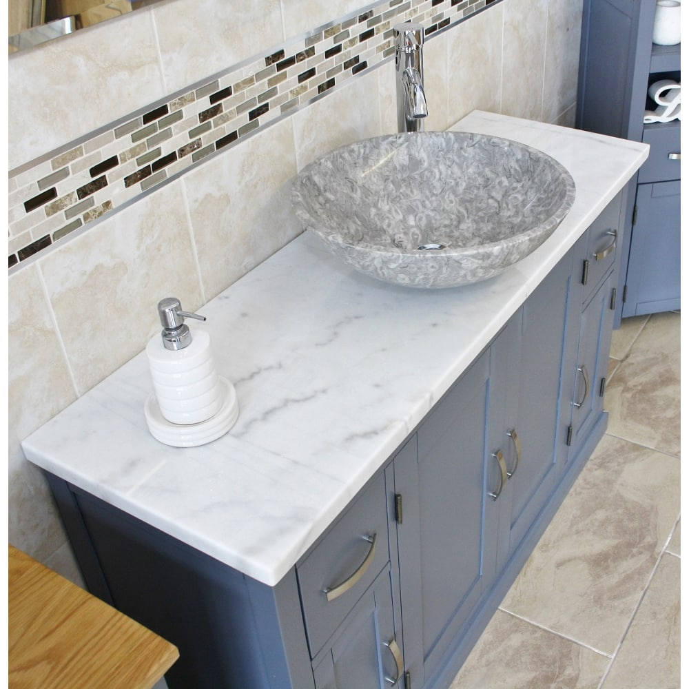 grey painted unit white marble top stone basin choice 402gwmsbcx1