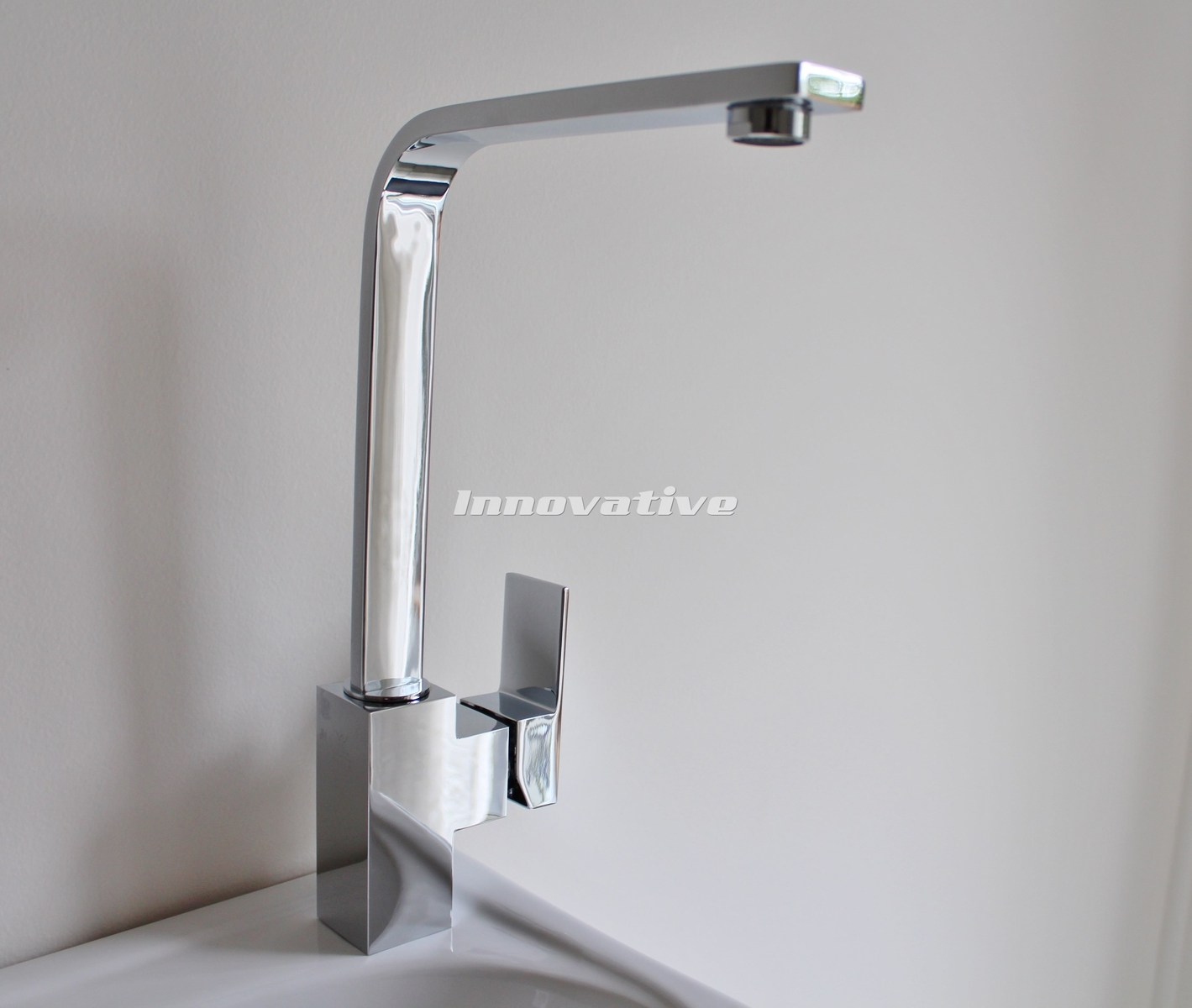 Square Cube Sink Mixer HDuty Brass Chrome Finish Ceramic