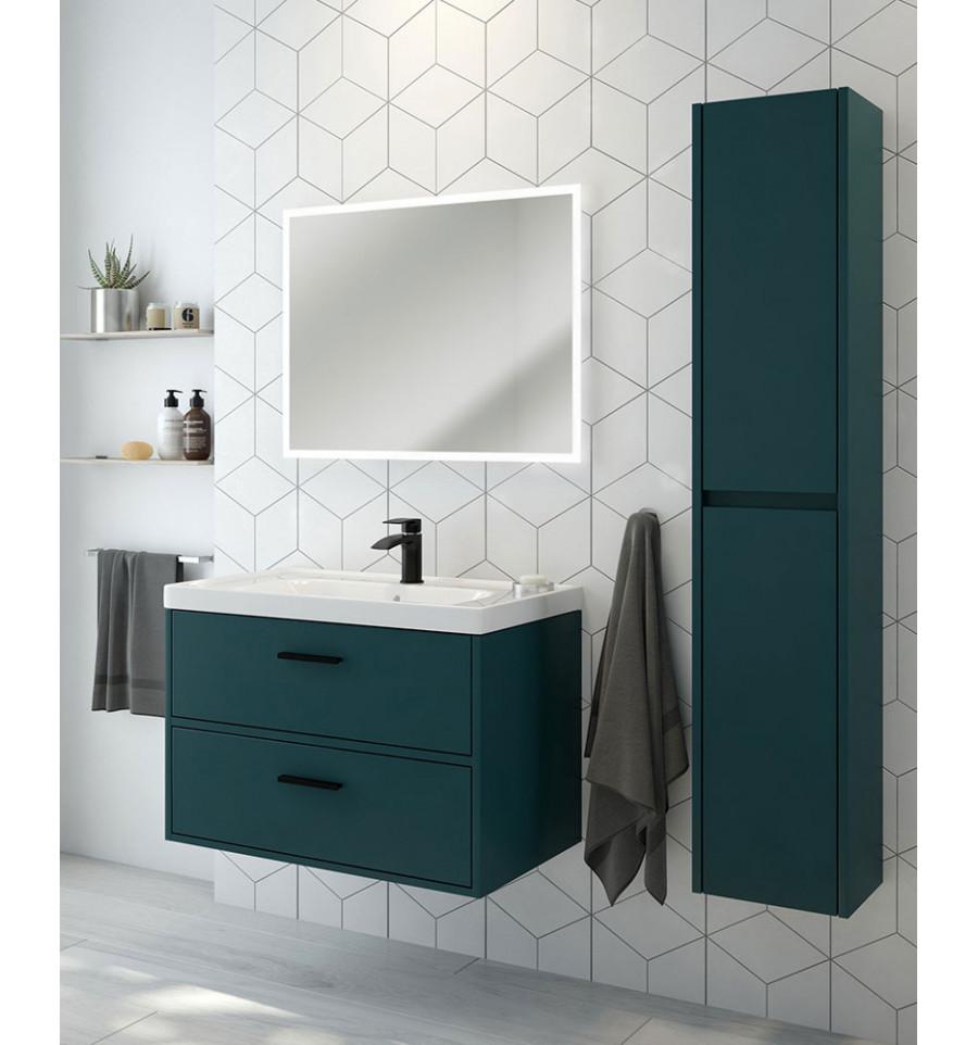 Finland Ocean Blue Matt 80cm Wall Hung Vanity Unit - Matt Black Handle