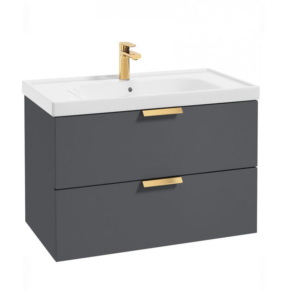 Stockholm Midnight Grey Matt 80cm Wall Hung Vanity Unit - Brushed Gold Handle