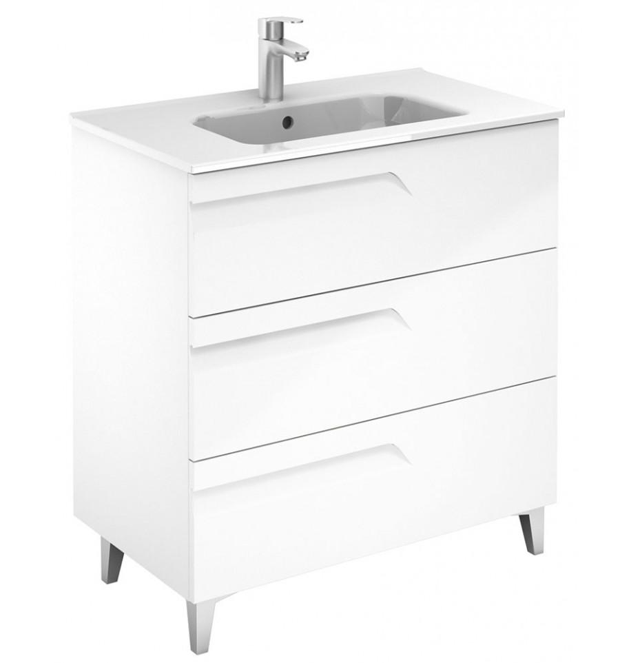 Brava Gloss White 80cm Floor Standing 3 Drawer Vanity Unit