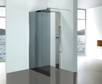 Grey Glass Bathroom Shower Enclosures With Stainless Steel ...