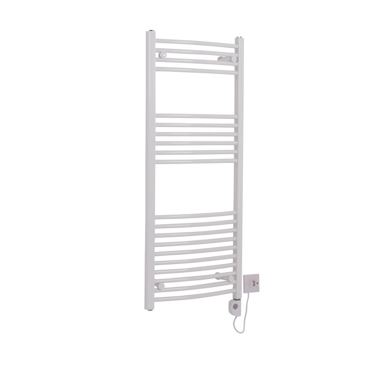 Bathroom White Electric Ladder Heated Towel Rail Warmer Thermostatic Radiator