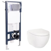 Wall Hung Mounted Steel Toilet Frame + WC Pan + Concealed ...