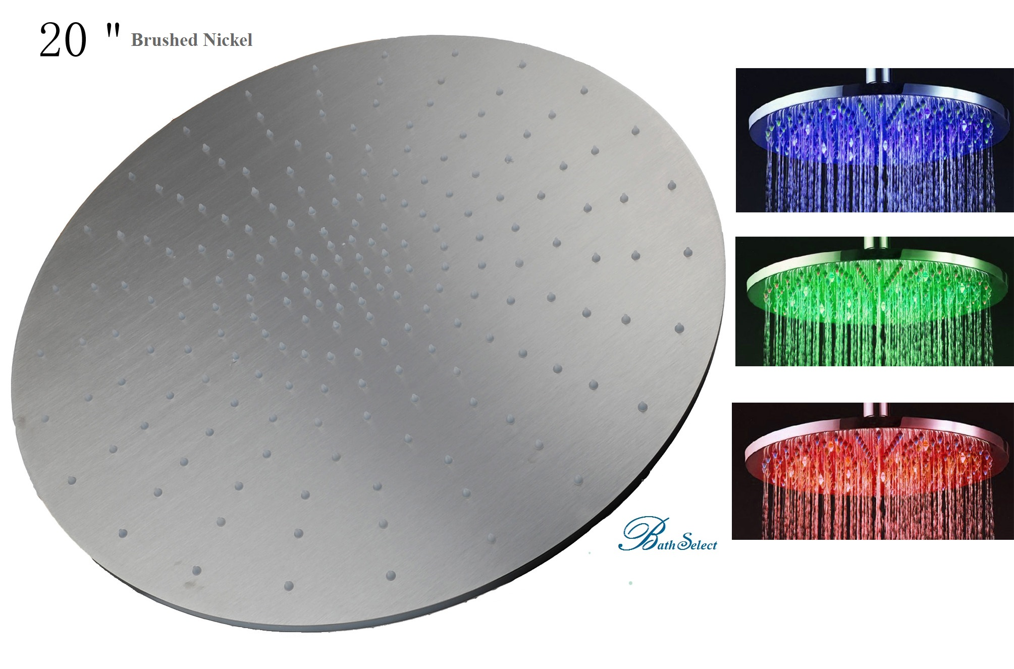 20 Brushed Nickle Round Color Changing Led Rain Shower Head