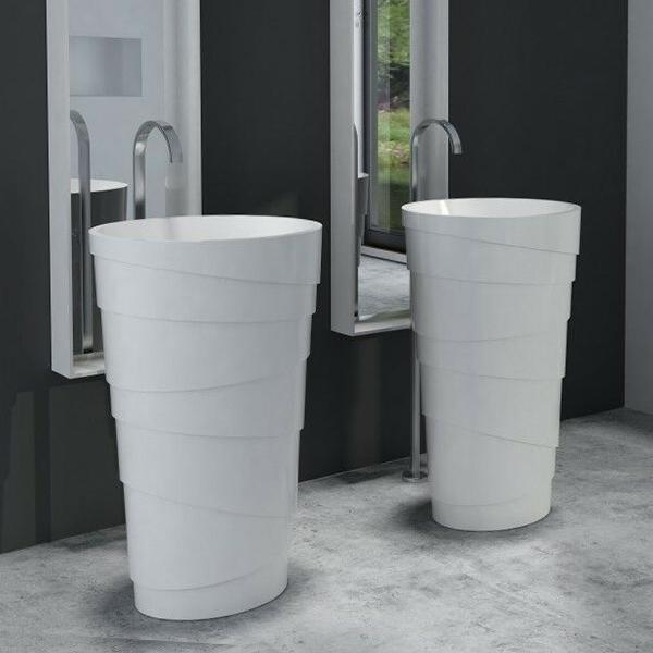 turin freestanding solid surface stone pedestal sink