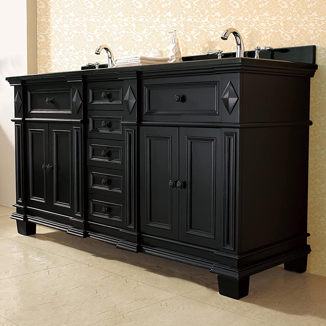 On Sale Now Large Selection Milan Bathroom Vanity Set With Black Granite Vanity Top White Sink At Bathselect