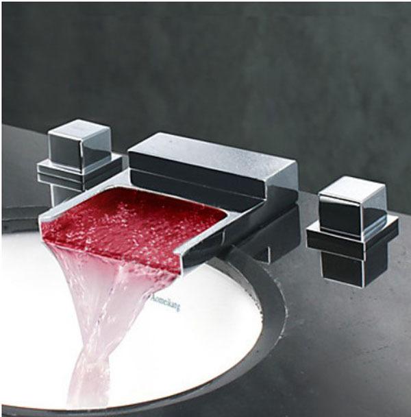 regina waterfall led bathroom sink faucet square handle