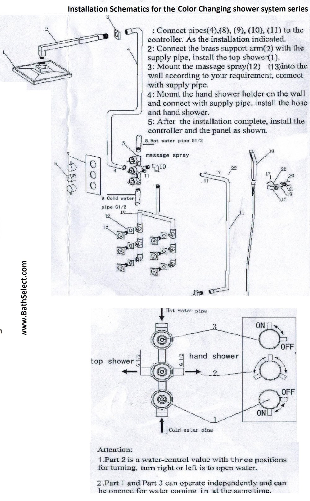 medium resolution of the shower system installation schematics diagram color changing temperature sensing led shower head