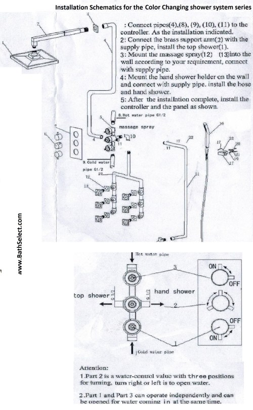 small resolution of the shower system installation schematics diagram color changing temperature sensing led shower head