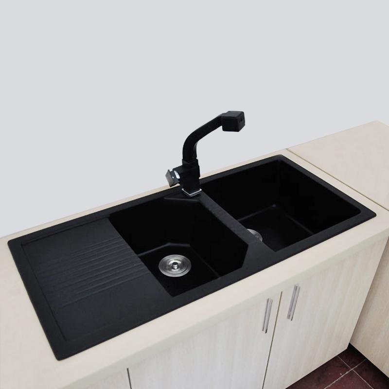 bavaria black european style artificial stone kitchen sink with drain board