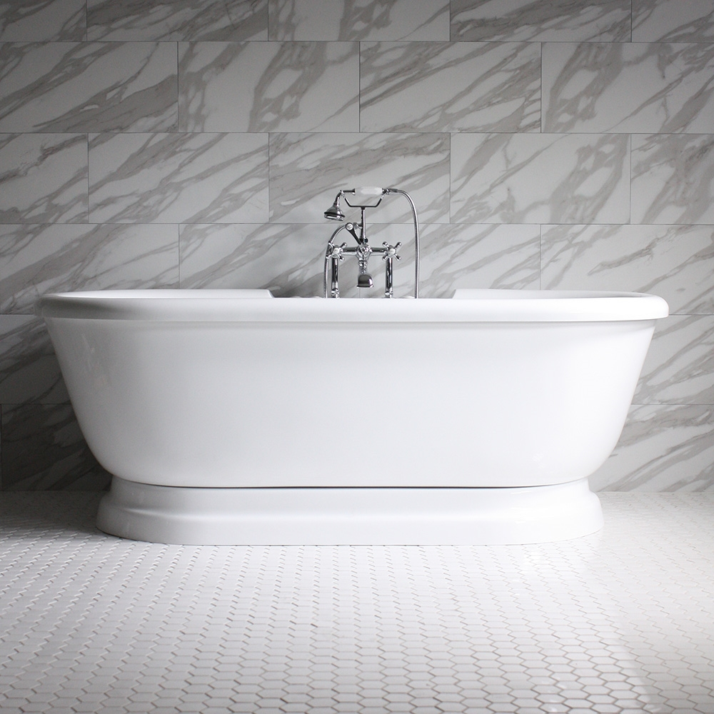 SSPD75W 75 SanSiro WATER Jetted Double Ended Pedestal Tub