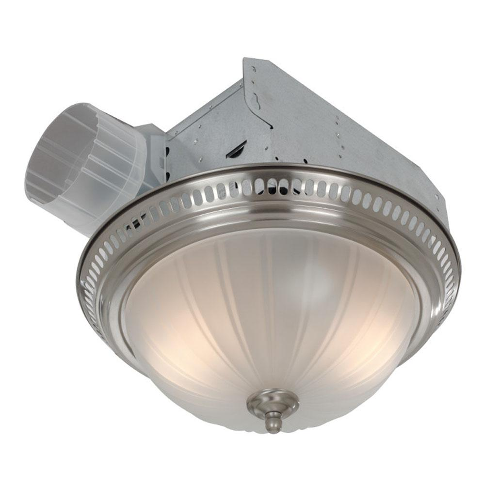 decorative satin nickel fan light with frosted glass 70 cfm 3 5 s
