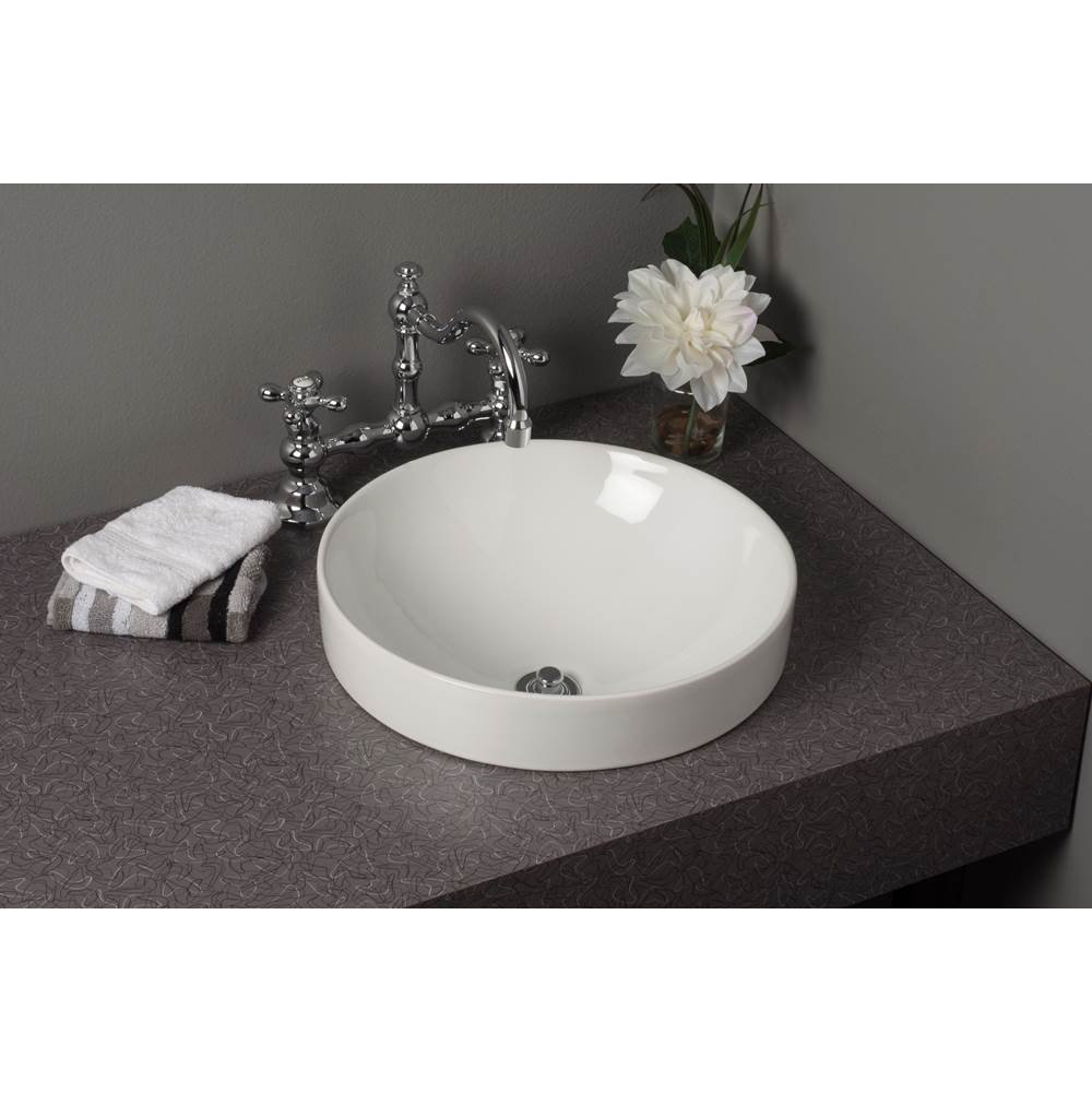 fireclay round semi drop in lavatory sink gloss white 16 x 3