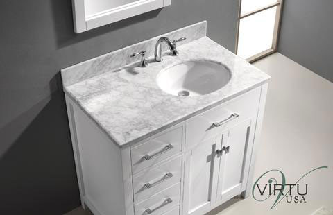 Virtu Usa Caroline Parkway Single 36 9 Inch Left Sided Transitional Bathroom Vanity With Mirror White