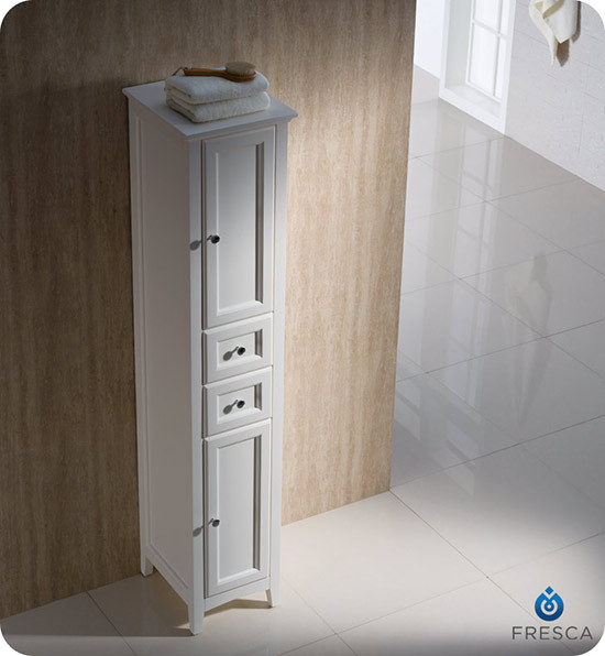 Fresca Oxford 14 Traditional Bathroom Tall Linen Side