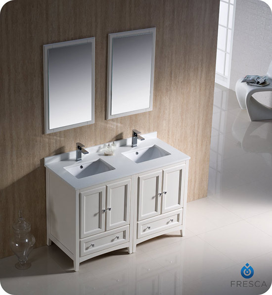 Fresca Oxford double 48inch Transitional Modular Bathroom Vanity Set  Antique White