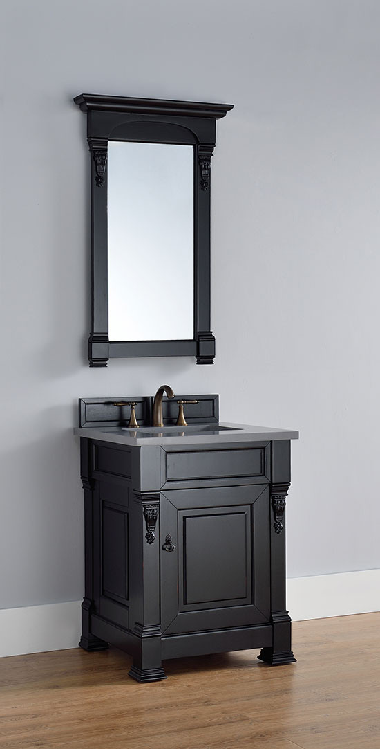 James Martin Brookfield Single 26 Inch Transitional Bathroom Vanity Antique Black