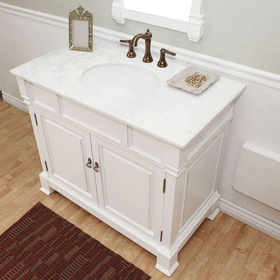 Harlow single 42inch Traditional Bathroom Vanity  White