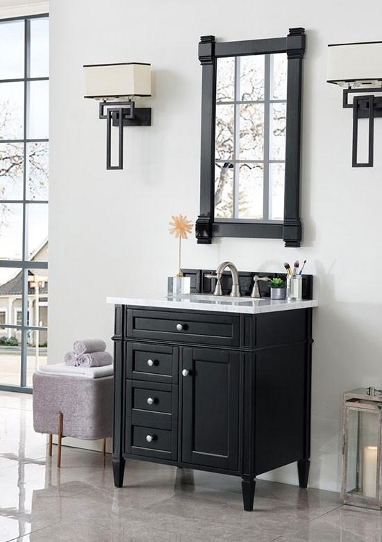 James Martin Brittany Single 30 Inch Transitional Bathroom Vanity Black Onyx