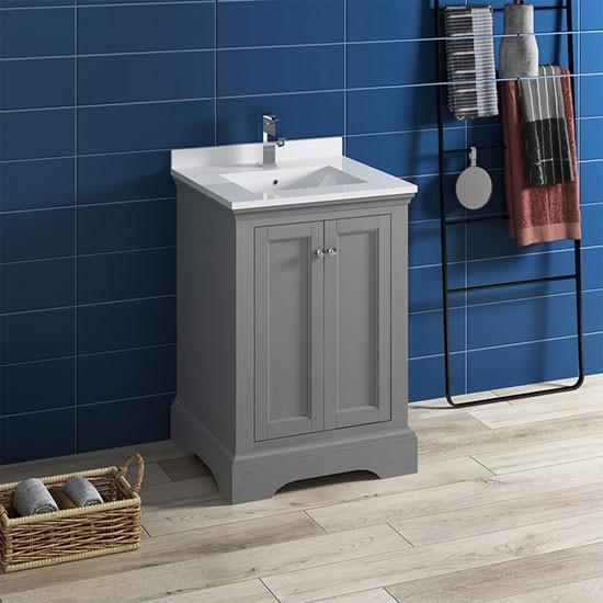 Fresca Windsor Single 24 Inch Transitional Bathroom Vanity Gray Textured