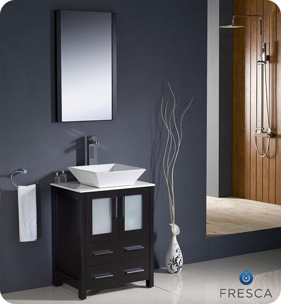 Fresca Torino single 24inch Modern Bathroom Vanity  Espresso with Vessel Sink