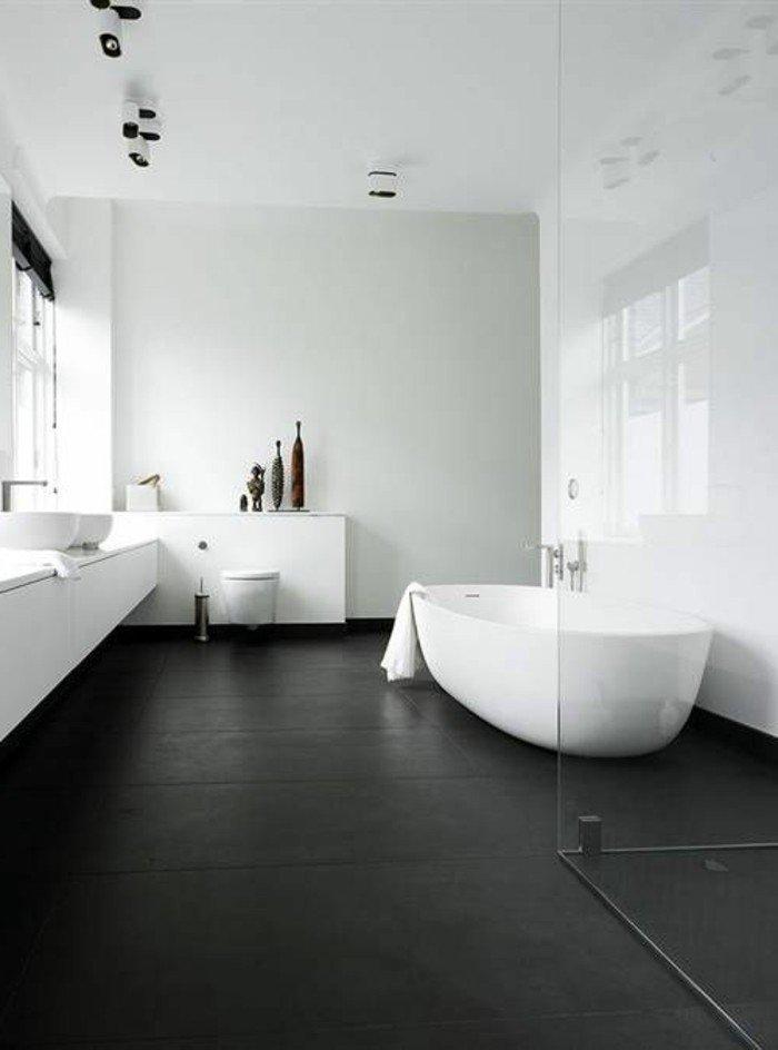 jolie salle de bain sol noir murs