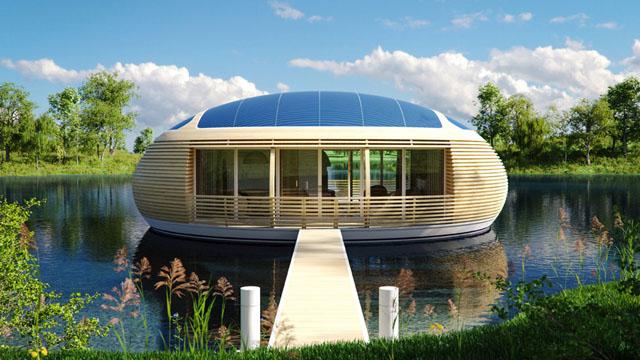 Maison écologique ovale.