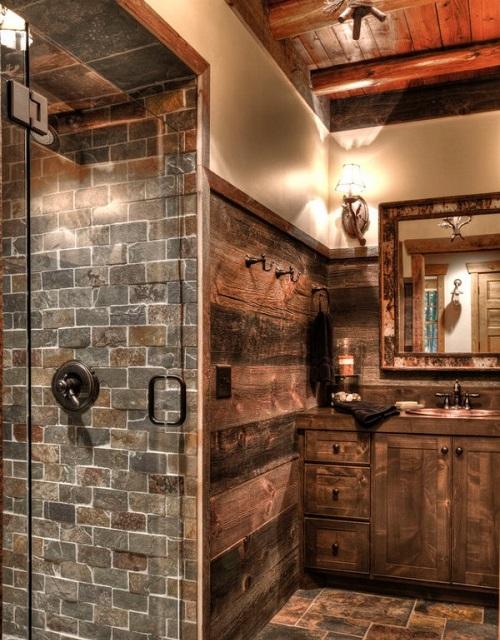 meuble de salle de bain de style rustique