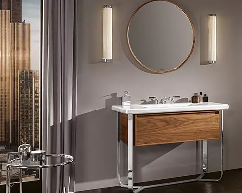 un meuble de salle de bain suspendu