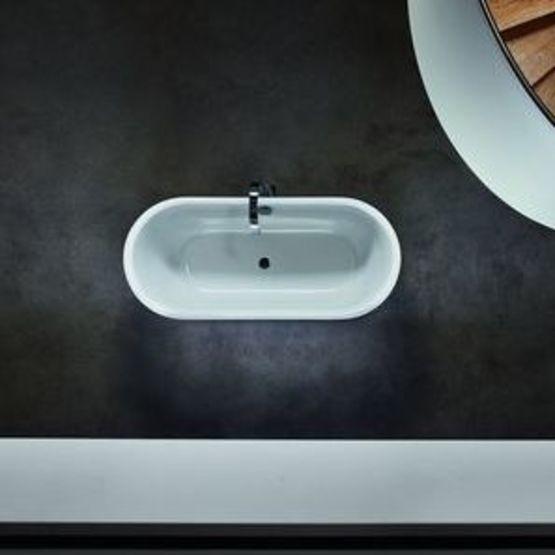 baignoire aux rebords ultra fins en ilot ou encastrable en acier titane vitrifie bettelux oval
