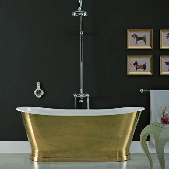 baignoire ovale en fonte emaillee et laiton dore antica laiton
