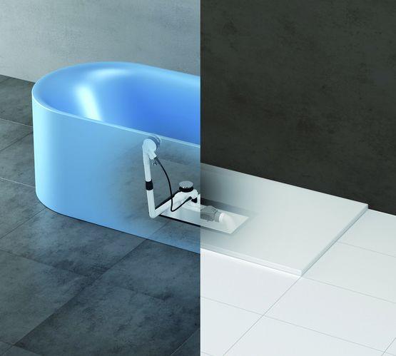 boitier pret a poser a bonde extensible pour connexion etanche de baignoire et douche easy connect