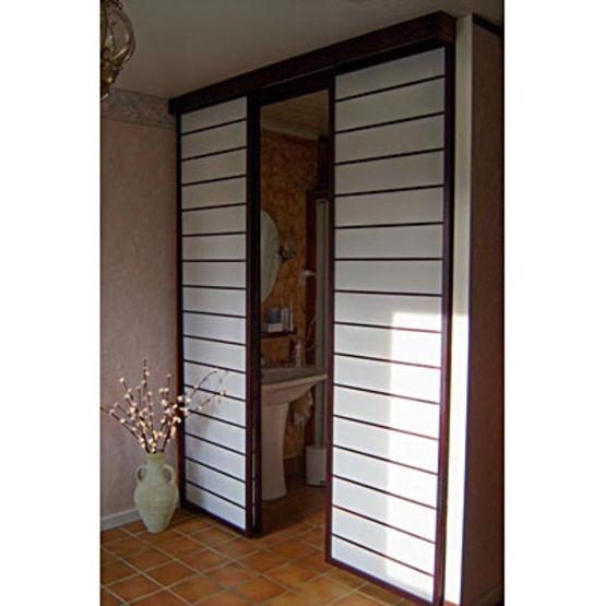 cloisons mobiles en panneaux de toile avec cadre et lattes en bois panneaux coulissants