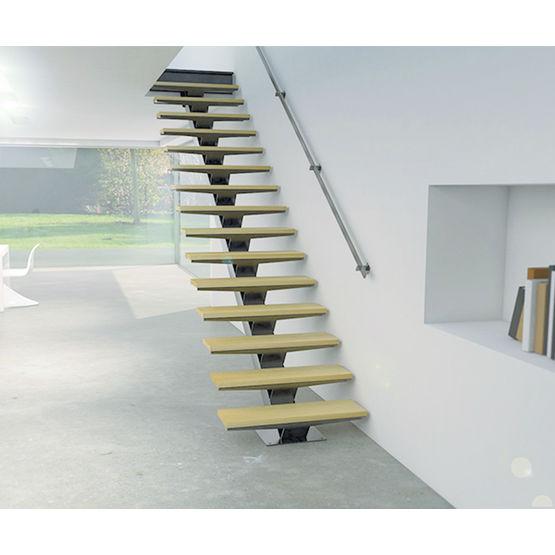 escalier droit sur mesure a limon central en kit pret a poser stairkaze z1