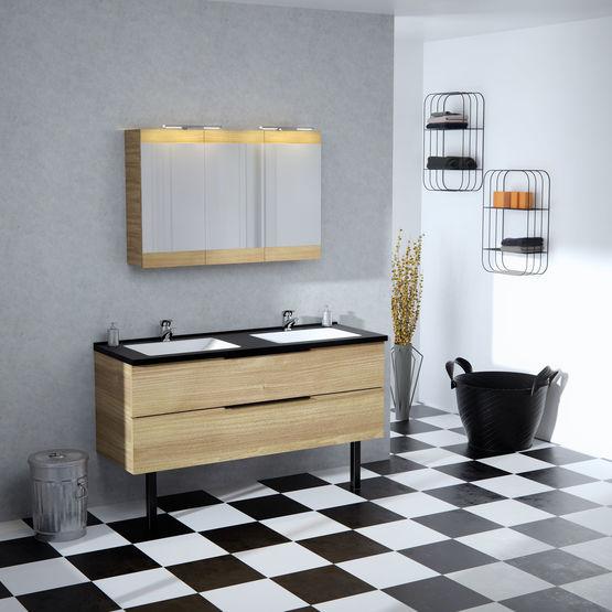 Dixie Meuble Haut A Miroir Salle De Bain Armoire De Toilette Batiproduits