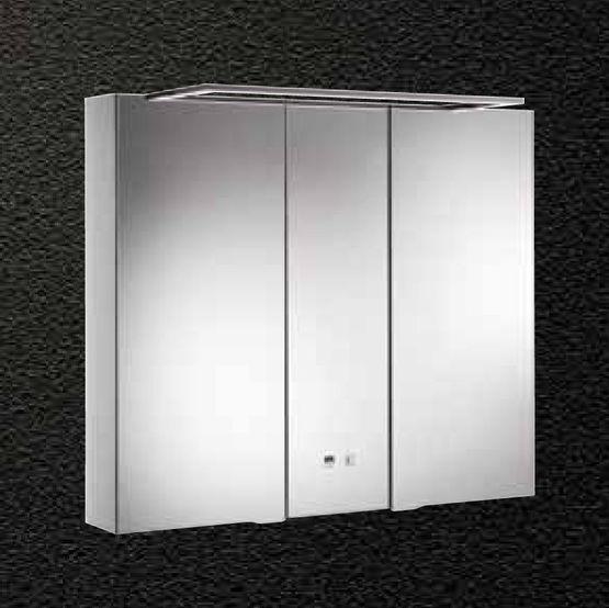 meuble miroir en aluminium a eclairage led integree pour salle de bains alkor basic