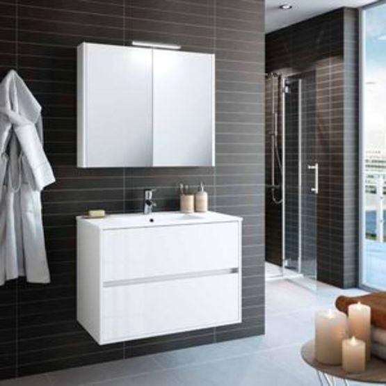 Nojaschwan600800 Meuble Salle De Bain Suspendu Blanc Avec Miroir Armoire Et Spot Led Batiproduits