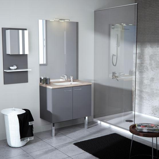 Meuble Vasque A Profondeur Reduite Pour Petites Salles De Bain Smart Portes Chene Vert