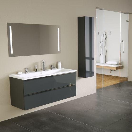 Deuzzio Meuble Vasque A Tiroirs Grande Longueur Avec Miroir