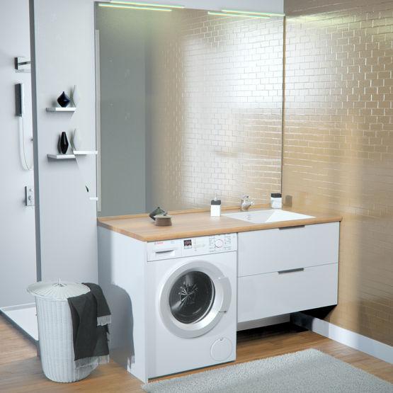 meuble vasque de salle de bain avec emplacement lave linge concept machine a laver