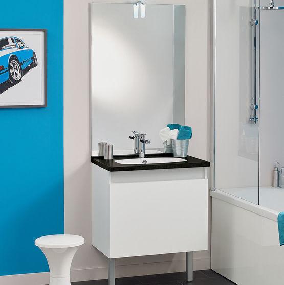 meuble vasque salle de bain 1 grand tiroir avec miroir et applique led teo 1 tiroir