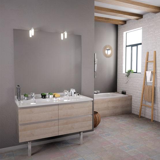 meuble vasque salle de bain 2 tiroirs avec miroir et applique led teo 2 tiroirs