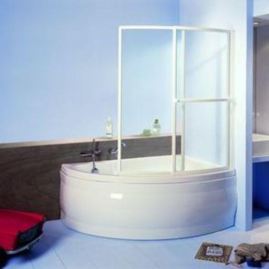 pare baignoire verre clair 3 mm 2 volets courbes coulissants et relevables paso doble secure